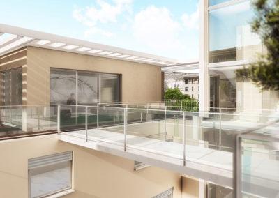 Casa Diana: dettaglio del ponte con vetri
