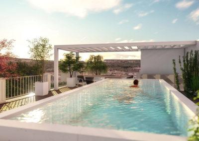 Casa Giunone: la piscina sul solarium