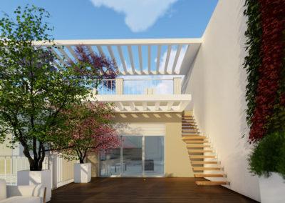 Casa Giunone: dettaglio del terrazzo